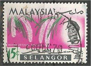 SELANGOR, 1965, used 15c, Orchid Scott 126