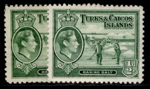 TURKS & CAICOS ISLANDS GVI SG195 + 195a, ½d yellowish green, M MINT. Cat £12.