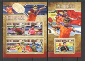 ST861 2016 GUINEA-BISSAU SPORT TABLE TENNIS PING-PONG KB+BL MNH STAMPS