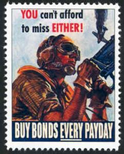 Patriotic WW2 Poster Stamp - Can't Afford Miss - Cinderella