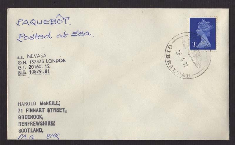 UK 1972 post at Sea cover to Scotland #560