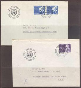 Sweden 1966 UNITED NATIONS 2 covers used w/ special commemoration hs