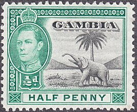 Gambia # 132 mnh ~ 1/2p George VI - Elephant