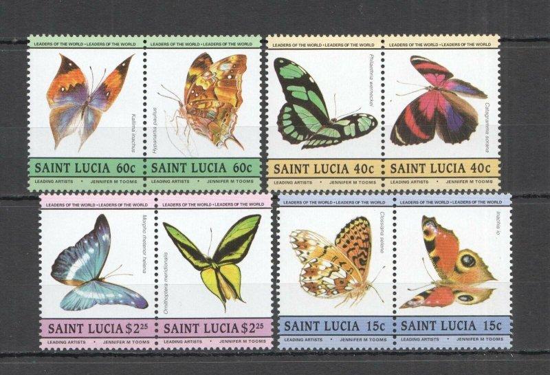 LED04 SAINT LUCIA BUTTERFLIES FAUNA LEADERS OF THE WORLD SET MNH