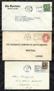 p955 - HAMILTON Lot of (3) Corner Covers with Slogan Cancels