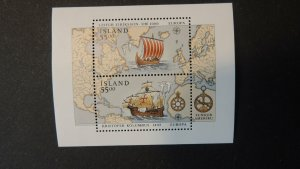 Iceland 1992 europa discovery of america viking longship galleon columbus