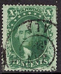US Stamp #35 10c Washington Used SCV $55. 4 Margins, Great cancel. Gorgeous.
