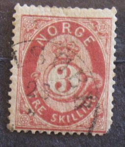 Norway #18 Used (short left corner)- SCV=$35.00