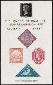 UK STAMP 1950 LONDON EXHIBTION MNH S/S