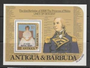 Antigua 1984 $2 Overprint on Royal Baby MS Gold SG MS851