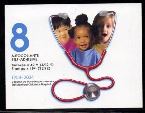 Canada Sc 2035a 2004 Childrens Hospital stamp bklt mint NH
