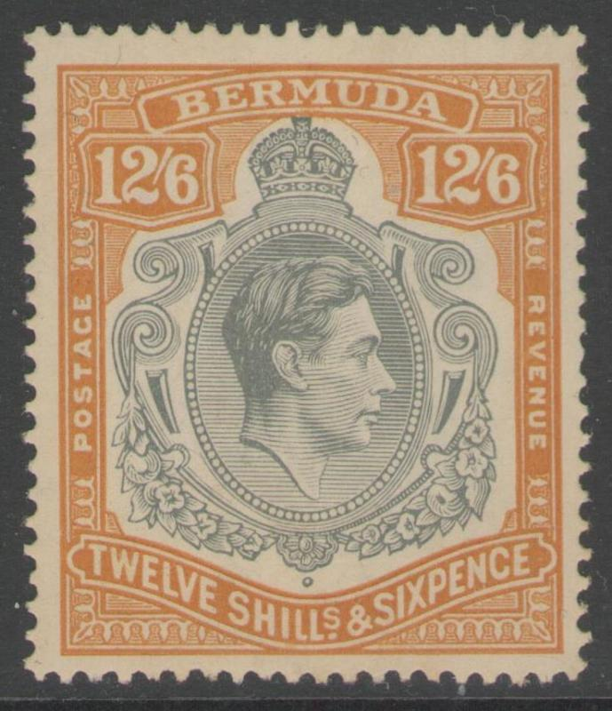 BERMUDA SG120a 1938 12/6 GREY & BROWNISH ORANGE p14 MTD MINT