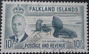 Falkland Islands 1952 GVI 10/- SG 184 used
