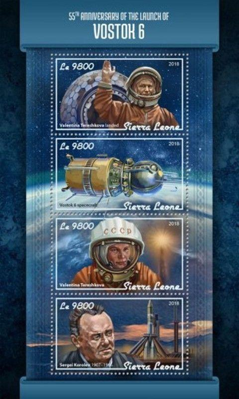 Sierra Leone - 2018 Vostok 6 Launch - 4 Stamp Sheet - SRL18106a
