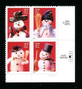 3676 - 3679 Snowmen Plate Block Lower Right Position