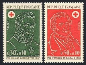 France B461-B462,MNH.Michel 1815-1816. Red Cross 1972.Dutrich,Baron Desgenettes,