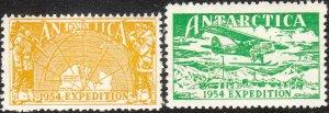 Stamp Label Australia Antarctic 1954 Expedition Airplane Map Mawson Station MNH