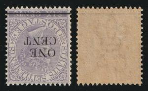Malaya Straits Settlements 1892 QV 1c on 6c MNH WMK INVERTED SG#90w CV£325 M2133