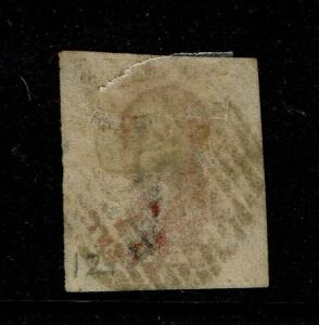 Belgium SC# 12, Used, Hinge Remnant, center thin with small tear/pinhole - S5065