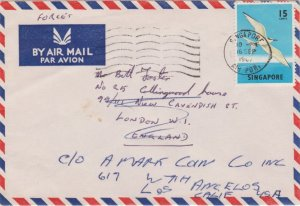 Singapore 15c Black-Naped Tern 1969 Singapore, Air Port Forces Airmail to Lon...