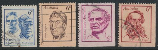 SG 479-482  Fine Used  Famous Australians  3rd Series - bottom right imperf m...