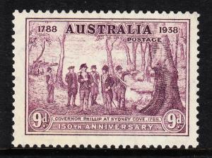 AUSTRALIA — SCOTT 165 (SG 195) — 1937 9d NSW 150TH ANNIVERSARY— MNH — SCV $30.00