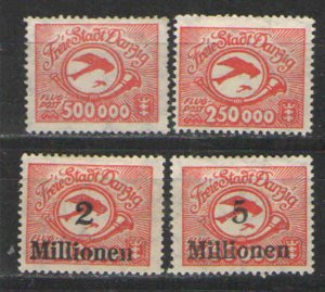 Germany - Danzig 1923 Sc# C22-C25 MHR/NG G/VG - Danzig airmail issues