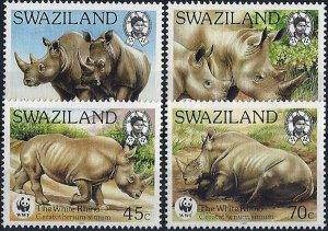 1987 Swaziland WWF, White Rhino complete set VF/MNH! CAT 18$ LOOK!