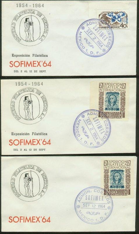 MEXICO 897(2), C299 SET OF 3 COMMEM CACHET CVRS STAMP SHOW 1964. VF. (6)