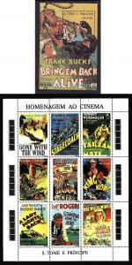 St Thomas & Prince Islands-Sc#1214-15-unused NH sheets-Movies-Cinema-1995-