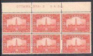 Canada #143 MINT NH BLOCK OF 6 - Inscription OTTAWA NoA - 2  943-0