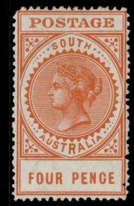 AUSTRALIA - South Australia EDVII SG299b, 4d orange, M MINT. Cat £25. PERF 12