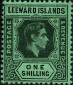Leeward Islands 1938 KGVI  1/- Black & Emerald  SG.110  Mint (Lightly Hinged)