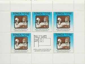 TONGA 1986 60TH BIRTHDAY QUEEN ELIZABETH,ROYAL LINKS SHEETLET SPECIMEN O/PRINT