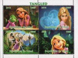 Chad 2014 Walt Disney Tangled Rapunzel Cartoons 4v Mint Souvenir Sheet. (#124)