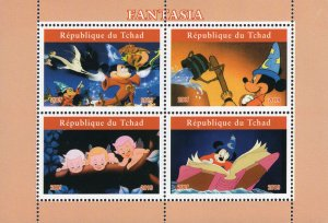 Chad 2019 Fantasia Mickey Mouse Disney Cartoons 4v Mint Stamps Sheet S/S. (#105)