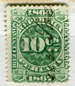 PERU; 1860s early classic Revenue issue fine used 10c. value