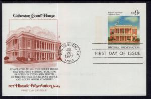 US UX71 Galveston Court House Postal Card Fleetwood U/A FDC
