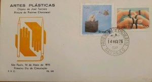 A) 1976, BRAZIL, PLASTIC ARTS, THE SHOWER, PIETRINA PAINTING, FDC, SAO PAULO