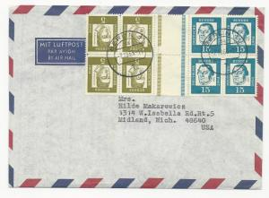 Germany Scott #824 & #828 Tete-Bach Guttew Blocks of 4 on Cover October 7, 1953