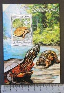 St Thomas 2013 turtles reptiles scouts s/sheet mnh