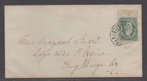 **CSA Cover, SC# 12, Charlottesville, VA, 12/30/1863, Blue Interior