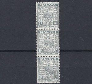 MALAYA  NEGRI SEMBILAN  1935 - 41  S G 28  6C  GREY STRIP OF 3  MNH
