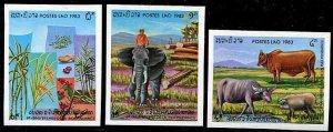 HERRICKSTAMP LAOS Sc.# 502-04 Animals (Elephant) Imperf Stamps