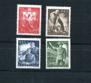 CROATIA GERMAN PUPPET STATE 1944 B65-B68 LABOR CORPS SET PERFECT MNH
