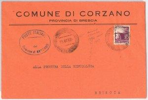REPUBBLICA - Storia Postale: ANNULLO MUTO EMERGENZA su BUSTA da  CORZANO 1949