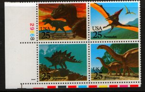 US  2425a  MNH PREHISTORIC ANIMALS PLATE BLOCK 1989