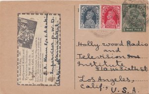 India 3p and 1a KGVI on 9p KGV Postal Card 1939 to Los Angeles, Calif. Cancel...