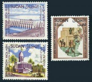 Sudan 167-169,MNH.Mi 200-202. Khashm El Girba Dam, Pavilion ,Map. NYC fair-1964.