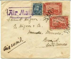 FAM 45c airmail up the AMAZON Manaus *** 1/2oz rate to BRAZIL 1932, Canada cover